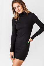 Double Zero - High Neck LS Bodycon Mini Dress - Black - Back