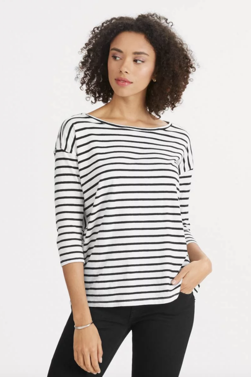 Nau - Basis LS Boatneck Shirt - Caviar Stripe - Front