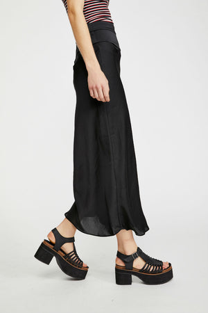 Free People - Normani Bias Skirt - Black - Side