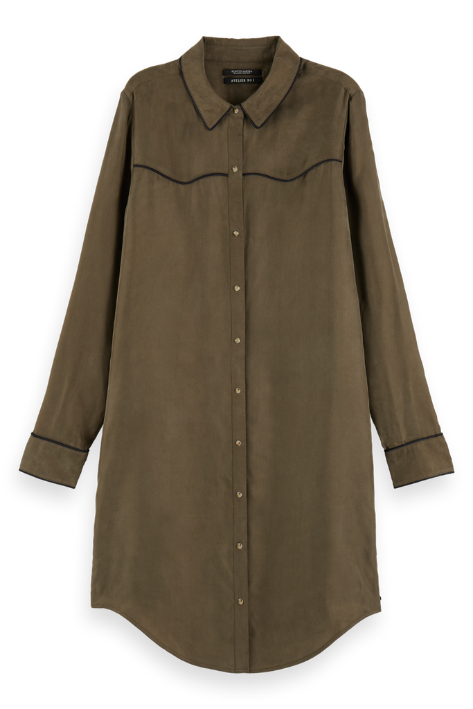Scotch and Soda - Cupro Shirt Dress - Olive