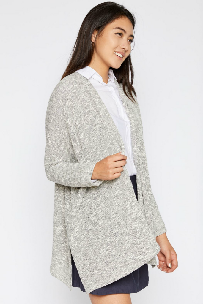 Sadie & Sage - Dolman Sleeve Ribbed Cardigan - Grey - Side