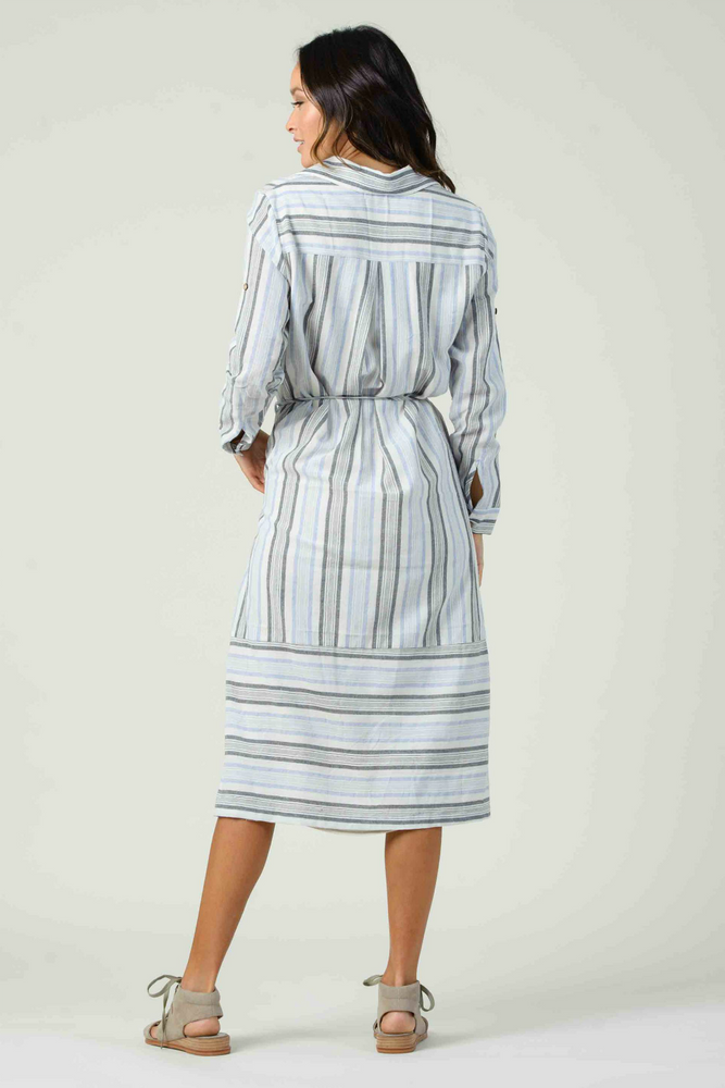 Lucca - Viola L/S Button Down Shirt Dress - Blue Multi Stripe - Back