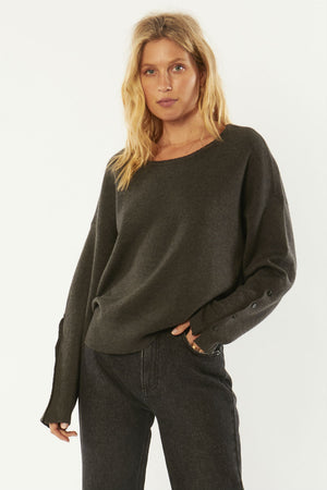 Amuse Society - Starshine LS Knit - Charcoal - Front