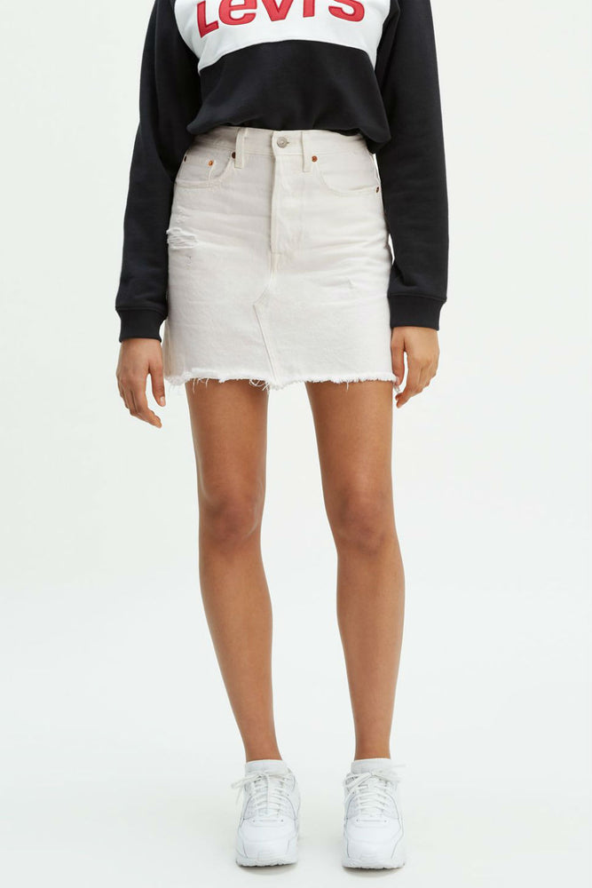 Levis - HR Deconstructed Iconic Buttonfly Skirt - Pearly White - Front