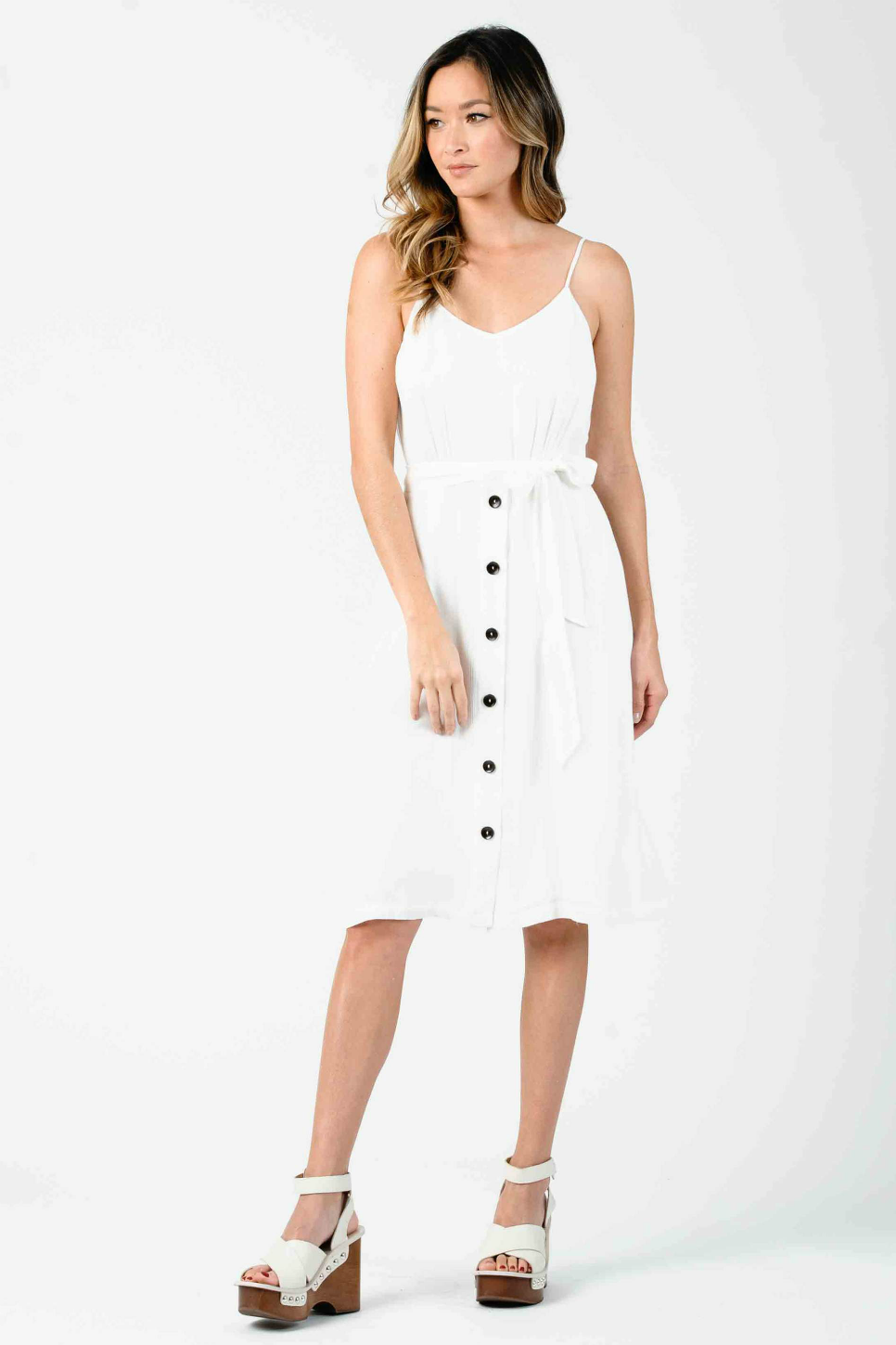 Lucca - Cleopatra Button Front Low Back Midi Dress - White - Front