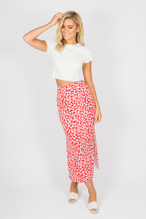 Toby Heart Ginger - Daisy Midi Skirt - Red Floral
