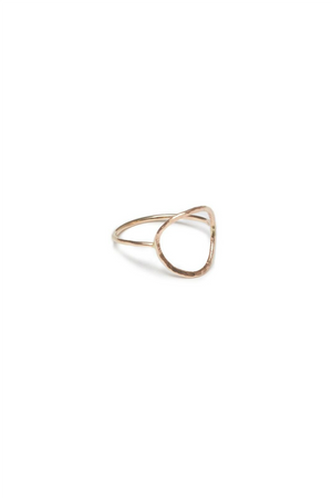 Able - Hammered Circle Ring - Gold