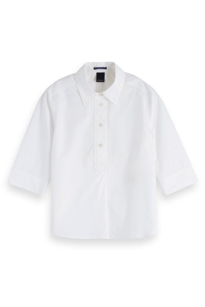 Scotch & Soda - Clean & Classic 3/4 Sleeve Shirt - White