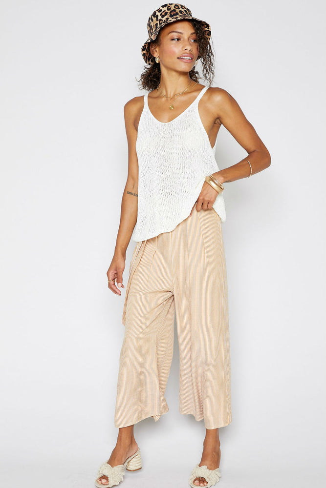 Sadie & Sage - Till Manana Stripe Pant - Canary - Front