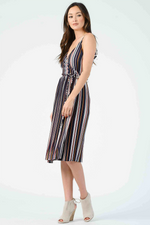 Lucca - Marley Cami Midi Dress w/ Pleated Skirt - Primary Stripe - Back