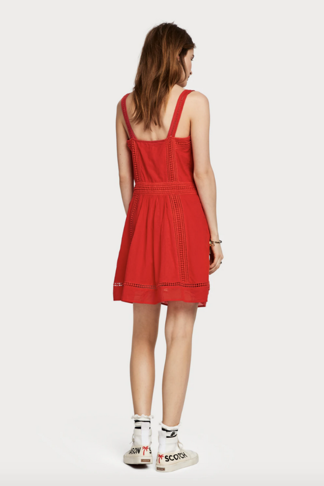 Scotch & Soda - Broderie Anglaise Summer Dress - Poppy Red - Back