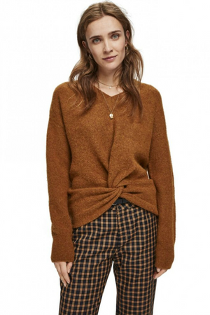 Scotch & Soda - Knot Crewneck Knit - Mocha - Front