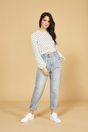 MinkPink - Zain Spotted Blouse - White