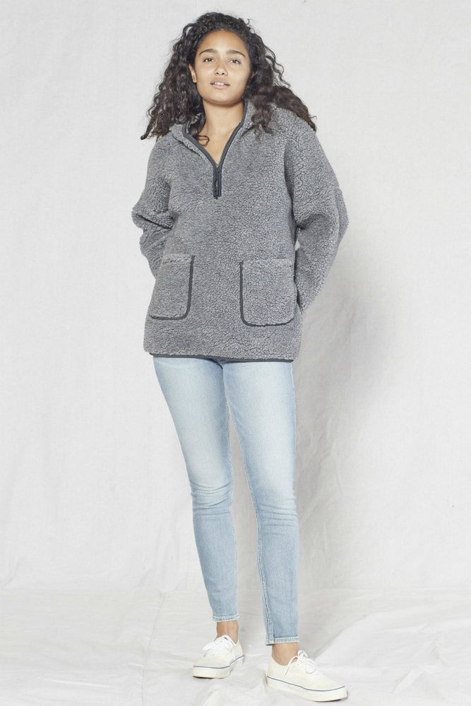 Outerknown - Seaside Sherpa Poncho - Heather Grey - Front