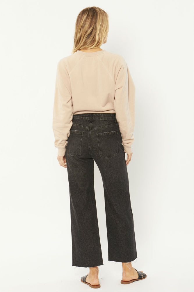 Amuse Society - Gabi Crop Flare Woven Denim Pant - Washed Black - Back