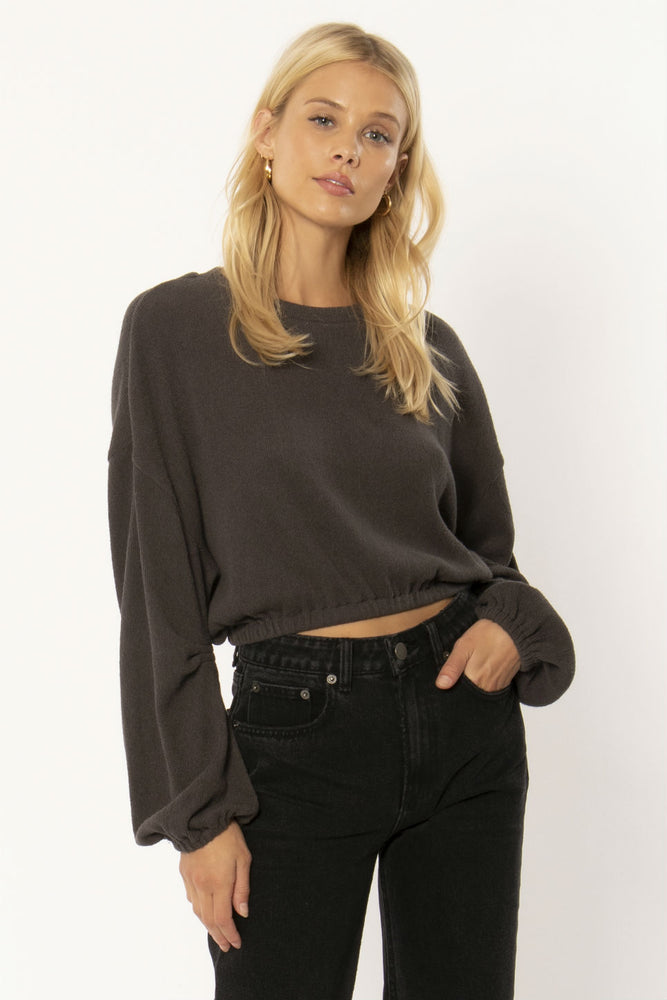 Amuse Society - Melo LS Knit Fleece Top - Charcoal - Front