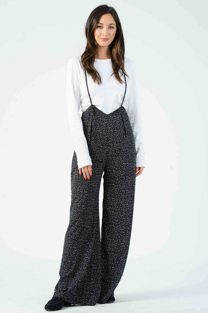 JORDAN WIDE LEG SUSPENDER JUMPSUIT