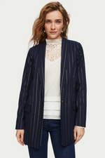 Scotch & Soda - Shiny Pinstripe Blazer - Navy - Front