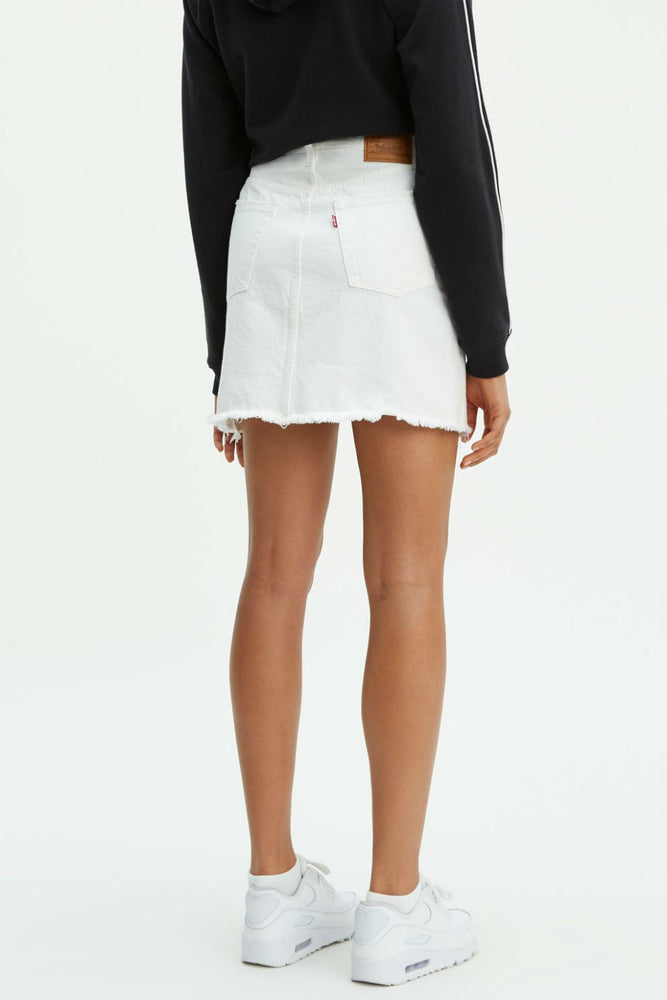 Levis - HR Deconstructed Iconic Buttonfly Skirt - Pearly White - Back
