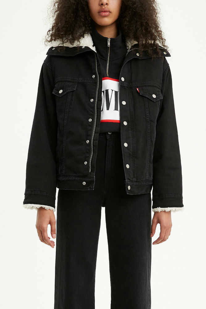 Levis - Dad Sherpa Parka - Black Book Trucker - Front