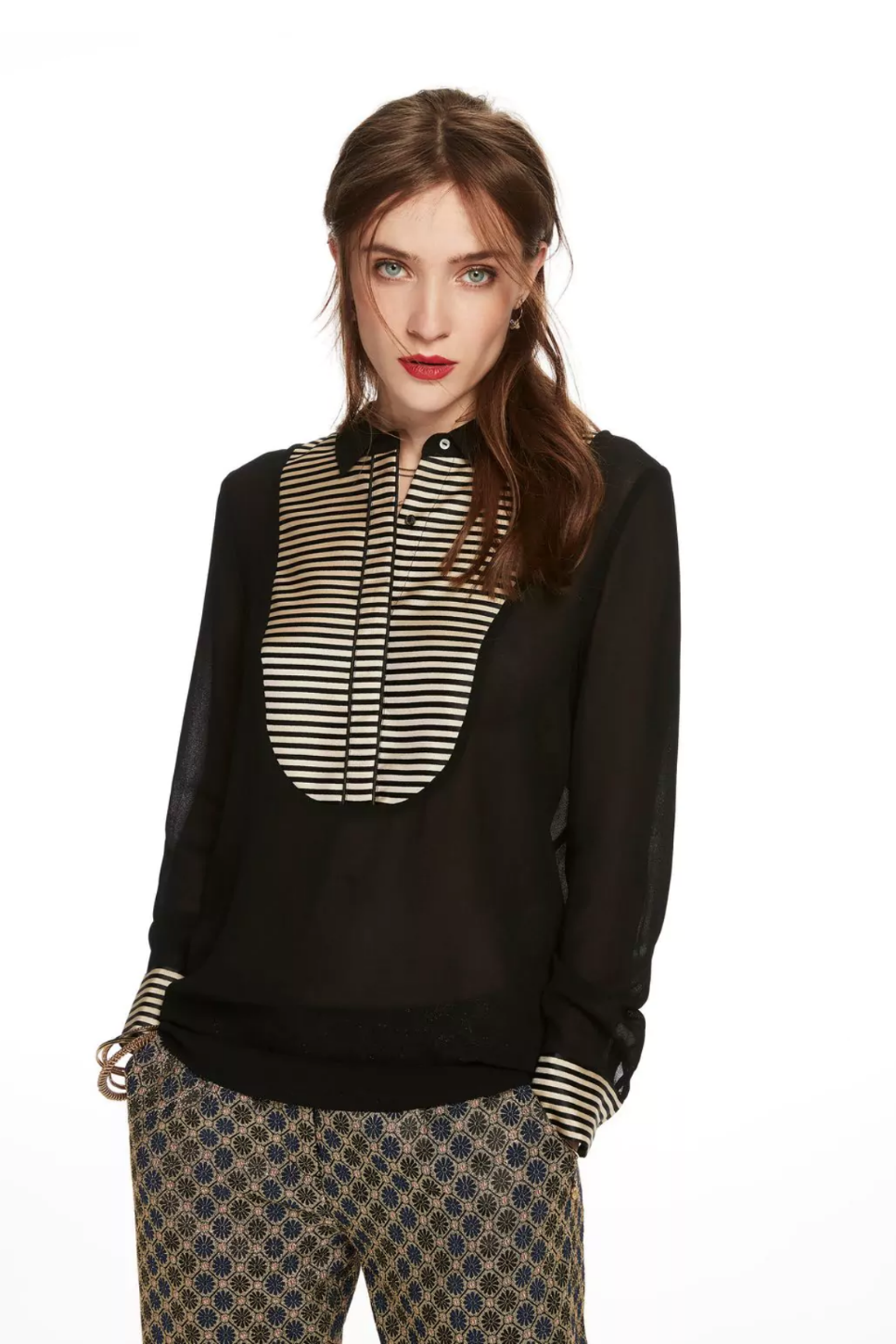 Scotch and Soda - Striped Bib Blouse - Multi - Model