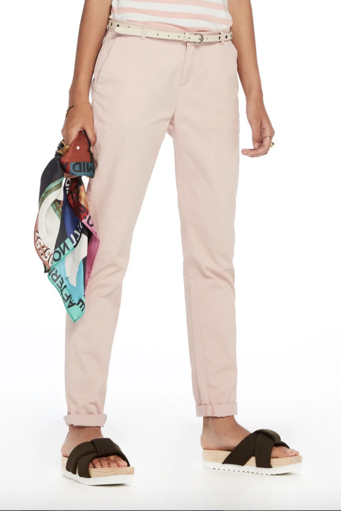 Scotch and Soda - Belted Slim Fit Chinos - Blush - Front