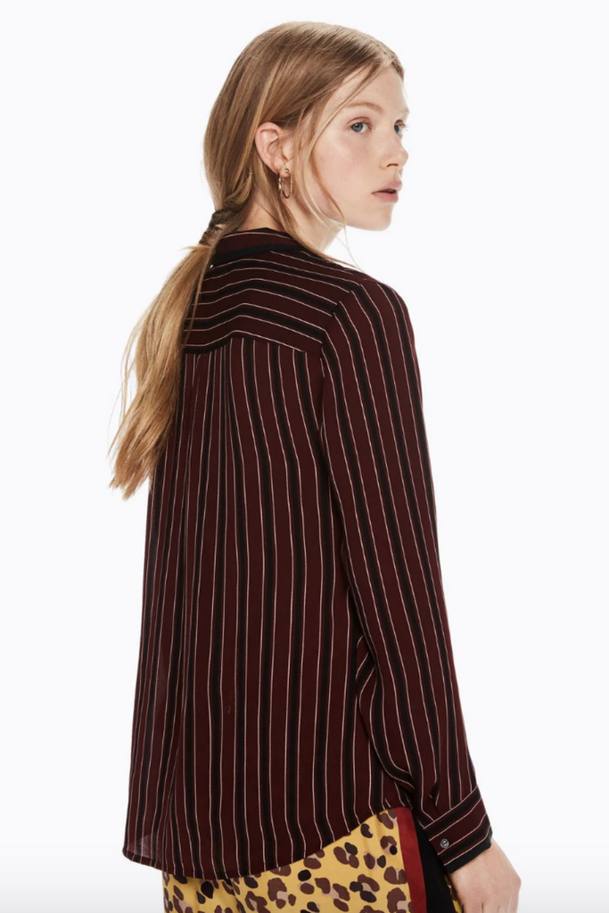 Scotch and Soda - Drapey Striped LS - Crimson - Back