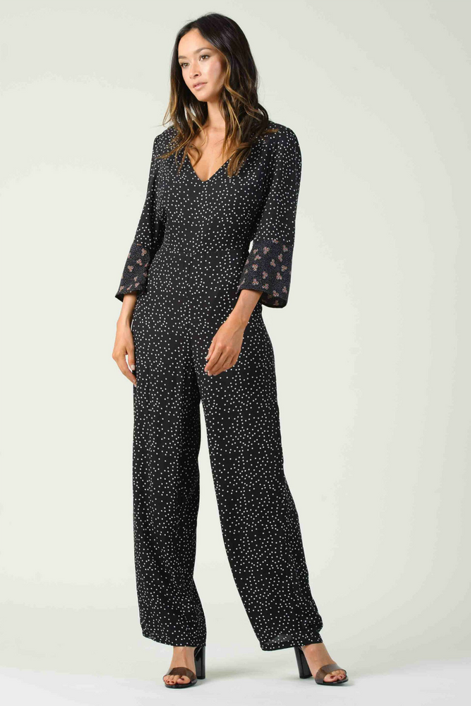 Lucca - Chardonnay Jumpsuit - Black Multi Dot - Back