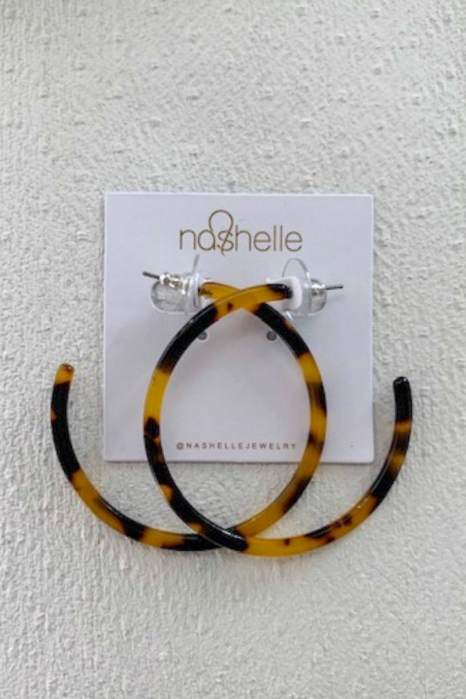 Nashelle - Harlow Resin Thin Hoop Earrings - Tortoise