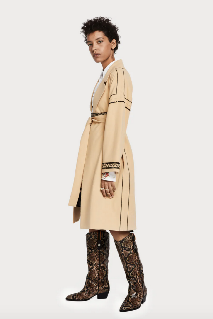 Scotch and Soda - Embroidered Trench Coat - Sand