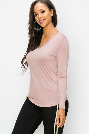 Double Zero - V Neck Essential LS - Dusty Pink - Side
