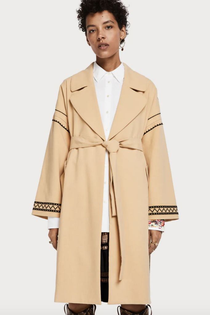 Scotch and Soda - Embroidered Trench Coat - Sand - Front