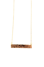 Nashelle - Harlow Hammered Classic Bar Necklace - 14K Gold Plated