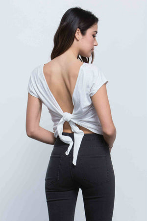 NYTT - Arya Tie Back Crop Top - White - Back