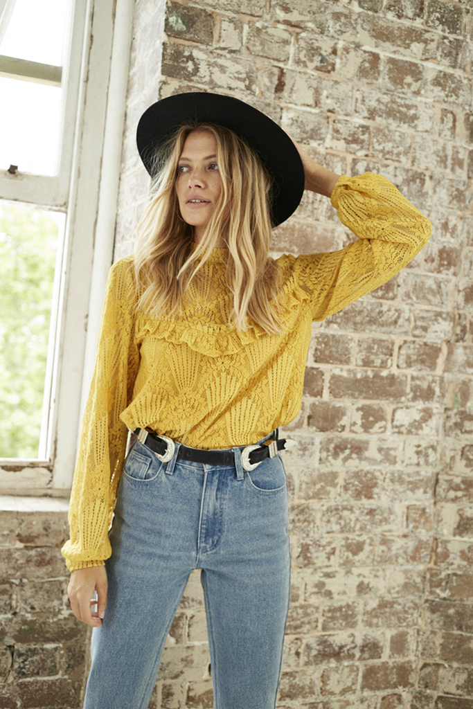 Somedays Lovin - Golden Days Blouse - Mango - Front