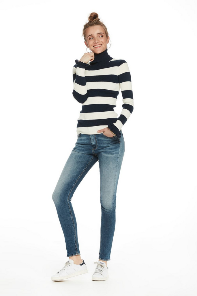Scotch and Soda - Haut High Rise Skinny - Black & Blauw