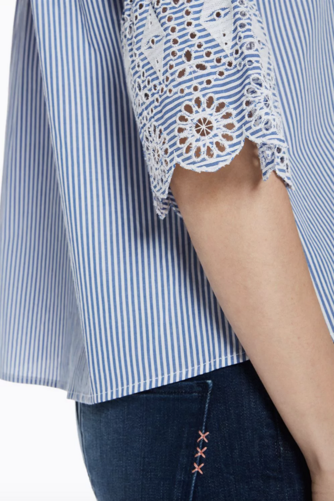 Scotch and Soda - Embroidered Sleeve Button Up - Blue Stripe - Detail