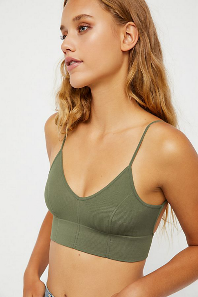 Free People - Low Back Bra - Green - Front