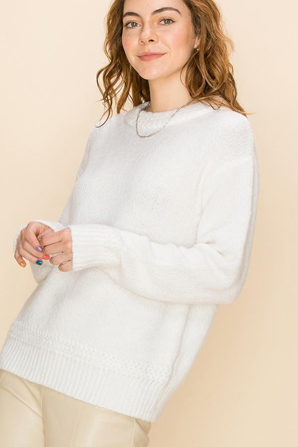 BELLA MOCK NECK THERMAL SWEATER