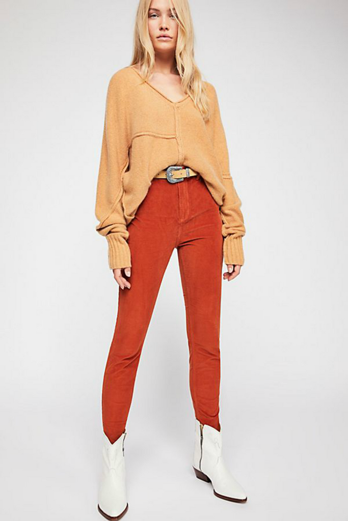 Free People - Cord Skinny Jean - Honey - Front