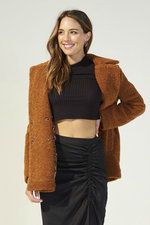 MinkPink - Game of Chance Shearling Coat - Toffee - Front
