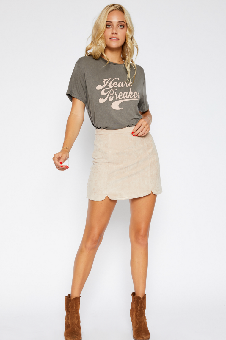 SUEDE DOUBLE SLIT SKIRT