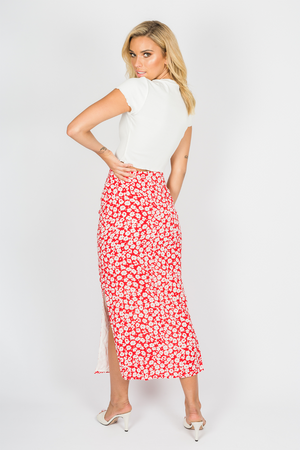 Toby Heart Ginger - Daisy Midi Skirt - Red Floral - Back