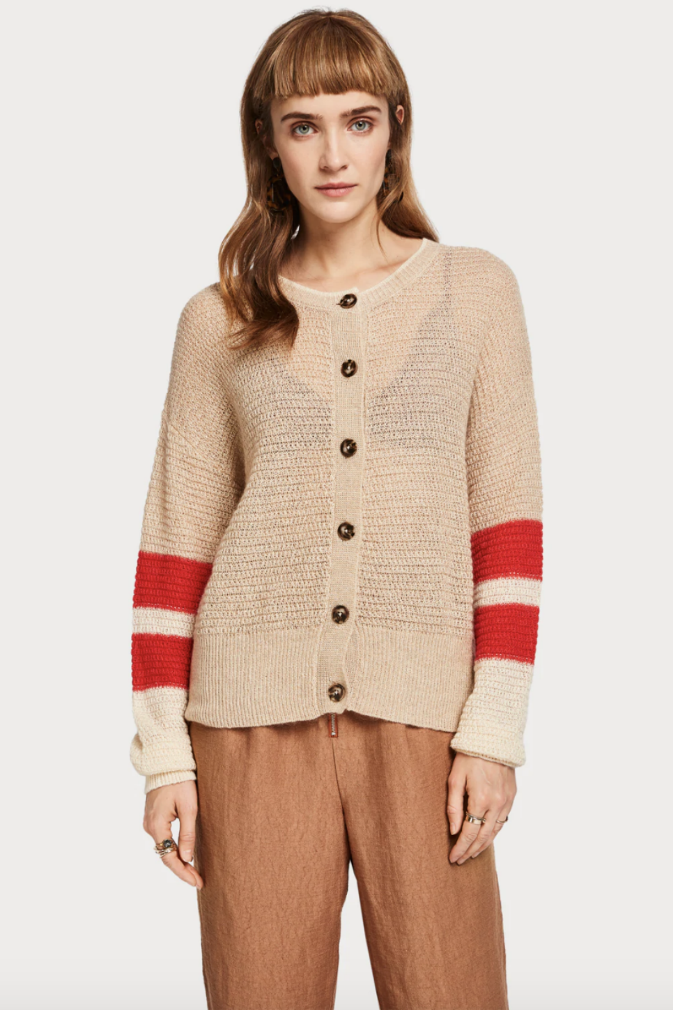 Scotch and Soda - Color Blocked Sleeve Cardi - Sand Melange - Front