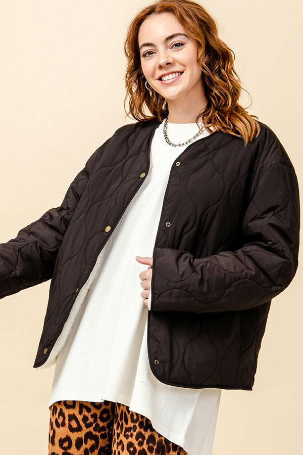 MEGAN REVERSIBLE SHERPA QUILTED JACKET