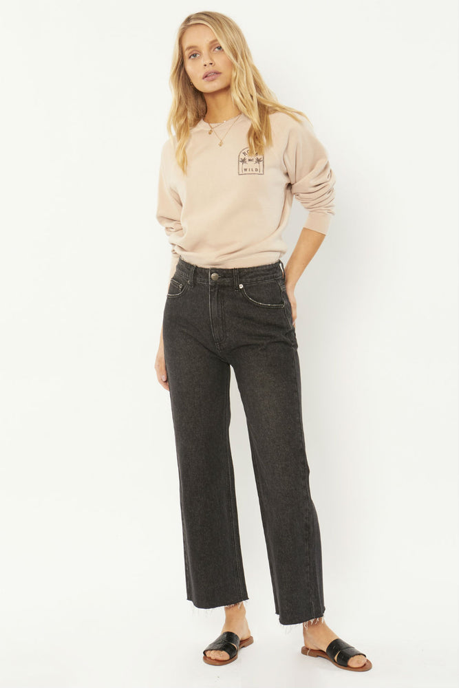 Amuse Society - Gabi Crop Flare Woven Denim Pant - Washed Black - Front