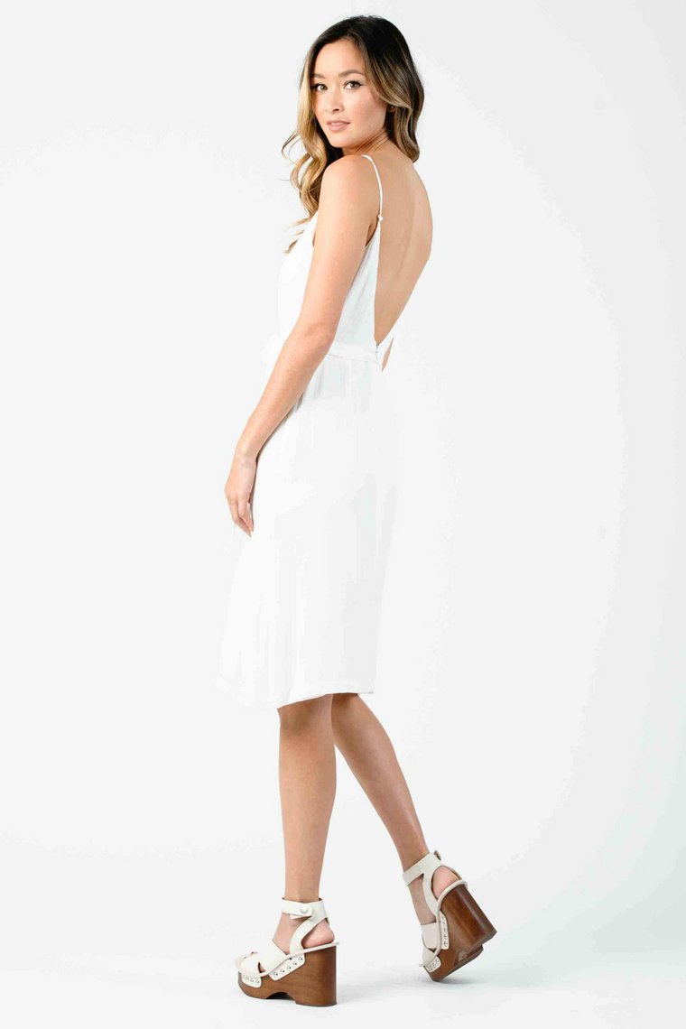 Lucca - Cleopatra Button Front Low Back Midi Dress - White