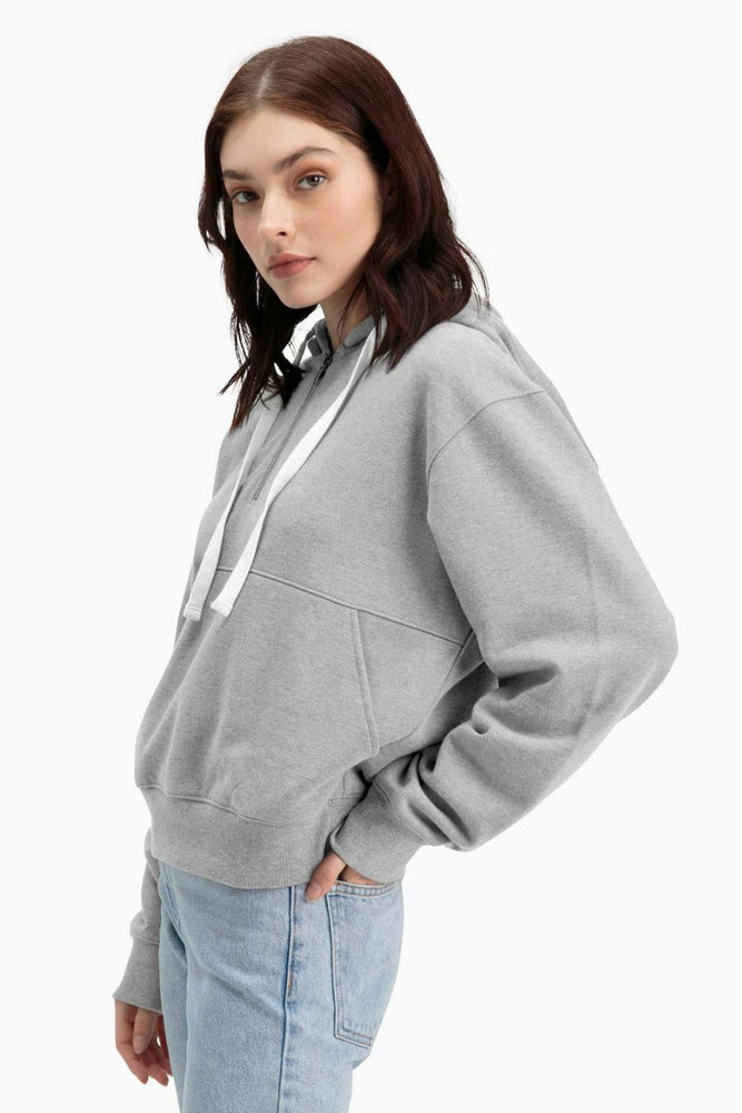 Richer Poorer - Half Zip Hoodie - Light Heather Grey