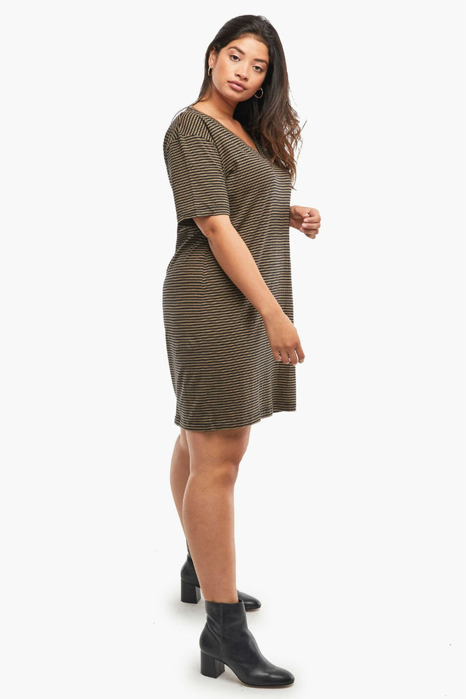 Able - Anamika Relaxed T-Shirt Dress - Black/Tan Stripe - Side