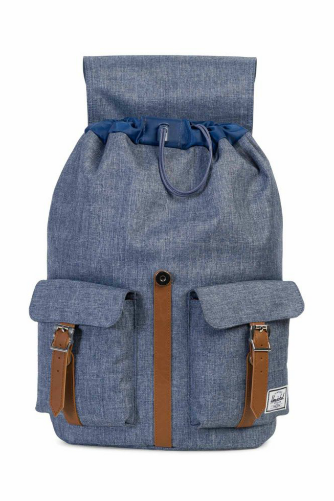 Herschel - Dawson Backpack - Dark Chambray Crosshatch/Tan - Open